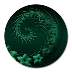 Dark Green Abstract Flowers 8  Mouse Pad (round) by BestCustomGiftsForYou