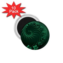Dark Green Abstract Flowers 1 75  Button Magnet (10 Pack) by BestCustomGiftsForYou