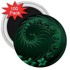 Dark Green Abstract Flowers 3  Button Magnet (100 Pack) by BestCustomGiftsForYou