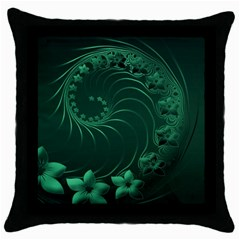 Dark Green Abstract Flowers Black Throw Pillow Case by BestCustomGiftsForYou