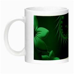 Dark Green Abstract Flowers Glow In The Dark Mug by BestCustomGiftsForYou