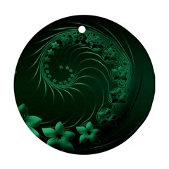 Dark Green Abstract Flowers Round Ornament (two Sides) by BestCustomGiftsForYou