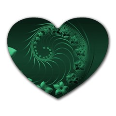 Dark Green Abstract Flowers Mouse Pad (heart) by BestCustomGiftsForYou