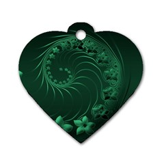 Dark Green Abstract Flowers Dog Tag Heart (one Sided)  by BestCustomGiftsForYou