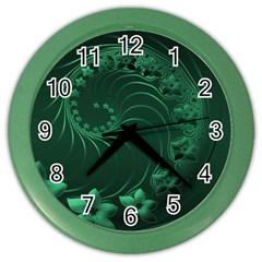 Dark Green Abstract Flowers Wall Clock (color) by BestCustomGiftsForYou