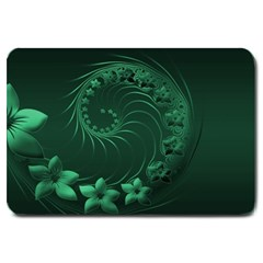 Dark Green Abstract Flowers Large Door Mat by BestCustomGiftsForYou