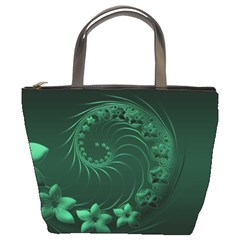 Dark Green Abstract Flowers Bucket Bag by BestCustomGiftsForYou