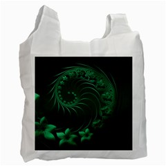 Dark Green Abstract Flowers Recycle Bag (one Side) by BestCustomGiftsForYou