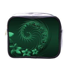 Dark Green Abstract Flowers Mini Travel Toiletry Bag (one Side) by BestCustomGiftsForYou