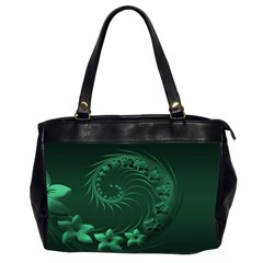 Dark Green Abstract Flowers Oversize Office Handbag (Two Sides) by BestCustomGiftsForYou