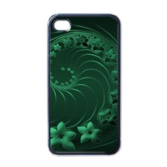 Dark Green Abstract Flowers Apple Iphone 4 Case (black) by BestCustomGiftsForYou