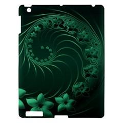 Dark Green Abstract Flowers Apple Ipad 3/4 Hardshell Case by BestCustomGiftsForYou