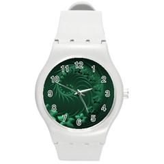 Dark Green Abstract Flowers Plastic Sport Watch (medium)
