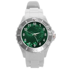 Dark Green Abstract Flowers Plastic Sport Watch (large) by BestCustomGiftsForYou