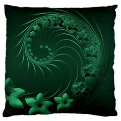 Dark Green Abstract Flowers Large Cushion Case (one Side) by BestCustomGiftsForYou
