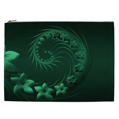 Dark Green Abstract Flowers Cosmetic Bag (xxl) by BestCustomGiftsForYou