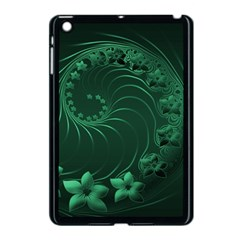 Dark Green Abstract Flowers Apple Ipad Mini Case (black) by BestCustomGiftsForYou