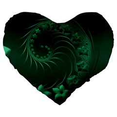 Dark Green Abstract Flowers 19  Premium Heart Shape Cushion by BestCustomGiftsForYou