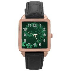 Dark Green Abstract Flowers Rose Gold Leather Watch  by BestCustomGiftsForYou
