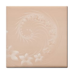 Pastel Brown Abstract Flowers Ceramic Tile by BestCustomGiftsForYou