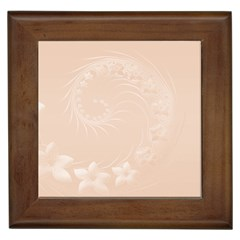 Pastel Brown Abstract Flowers Framed Ceramic Tile by BestCustomGiftsForYou