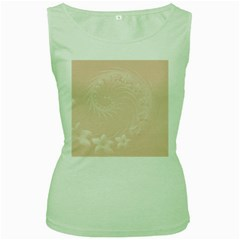 Pastel Brown Abstract Flowers Womens  Tank Top (green) by BestCustomGiftsForYou