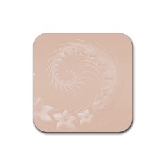 Pastel Brown Abstract Flowers Drink Coaster (square) by BestCustomGiftsForYou
