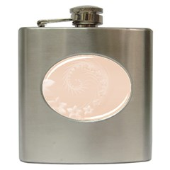 Pastel Brown Abstract Flowers Hip Flask by BestCustomGiftsForYou