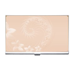 Pastel Brown Abstract Flowers Business Card Holder by BestCustomGiftsForYou