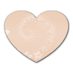 Pastel Brown Abstract Flowers Mouse Pad (heart)