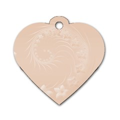 Pastel Brown Abstract Flowers Dog Tag Heart (one Sided)  by BestCustomGiftsForYou