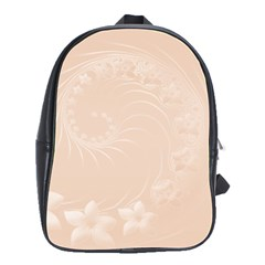 Pastel Brown Abstract Flowers School Bag (large) by BestCustomGiftsForYou