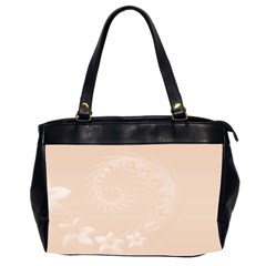 Pastel Brown Abstract Flowers Oversize Office Handbag (two Sides) by BestCustomGiftsForYou
