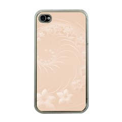Pastel Brown Abstract Flowers Apple Iphone 4 Case (clear) by BestCustomGiftsForYou