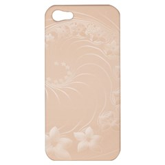 Pastel Brown Abstract Flowers Apple Iphone 5 Hardshell Case by BestCustomGiftsForYou