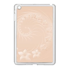 Pastel Brown Abstract Flowers Apple Ipad Mini Case (white) by BestCustomGiftsForYou