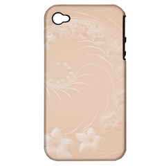 Pastel Brown Abstract Flowers Apple Iphone 4/4s Hardshell Case (pc+silicone) by BestCustomGiftsForYou