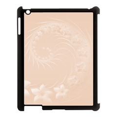 Pastel Brown Abstract Flowers Apple Ipad 3/4 Case (black) by BestCustomGiftsForYou