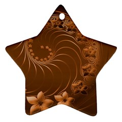 Brown Abstract Flowers Star Ornament by BestCustomGiftsForYou