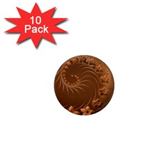 Brown Abstract Flowers 1  Mini Button Magnet (10 Pack) by BestCustomGiftsForYou