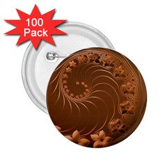 Brown Abstract Flowers 2 25  Button (100 Pack) by BestCustomGiftsForYou