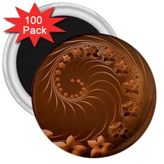 Brown Abstract Flowers 3  Button Magnet (100 Pack) by BestCustomGiftsForYou