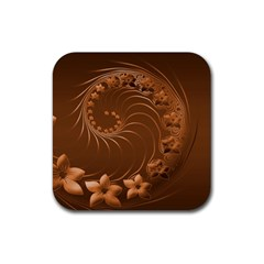 Brown Abstract Flowers Drink Coasters 4 Pack (square) by BestCustomGiftsForYou