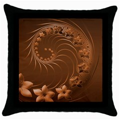 Brown Abstract Flowers Black Throw Pillow Case by BestCustomGiftsForYou
