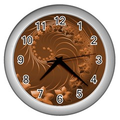 Brown Abstract Flowers Wall Clock (silver) by BestCustomGiftsForYou