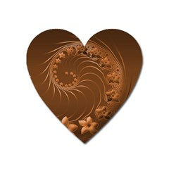 Brown Abstract Flowers Magnet (heart) by BestCustomGiftsForYou