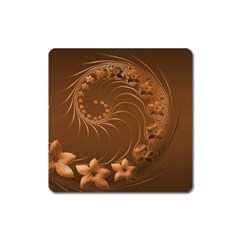 Brown Abstract Flowers Magnet (square)