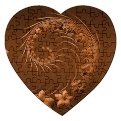 Brown Abstract Flowers Jigsaw Puzzle (heart) by BestCustomGiftsForYou