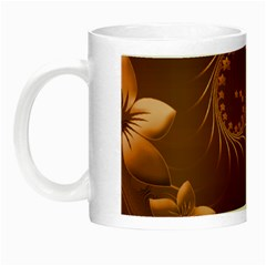Brown Abstract Flowers Glow In The Dark Mug by BestCustomGiftsForYou