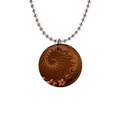 Brown Abstract Flowers Button Necklace